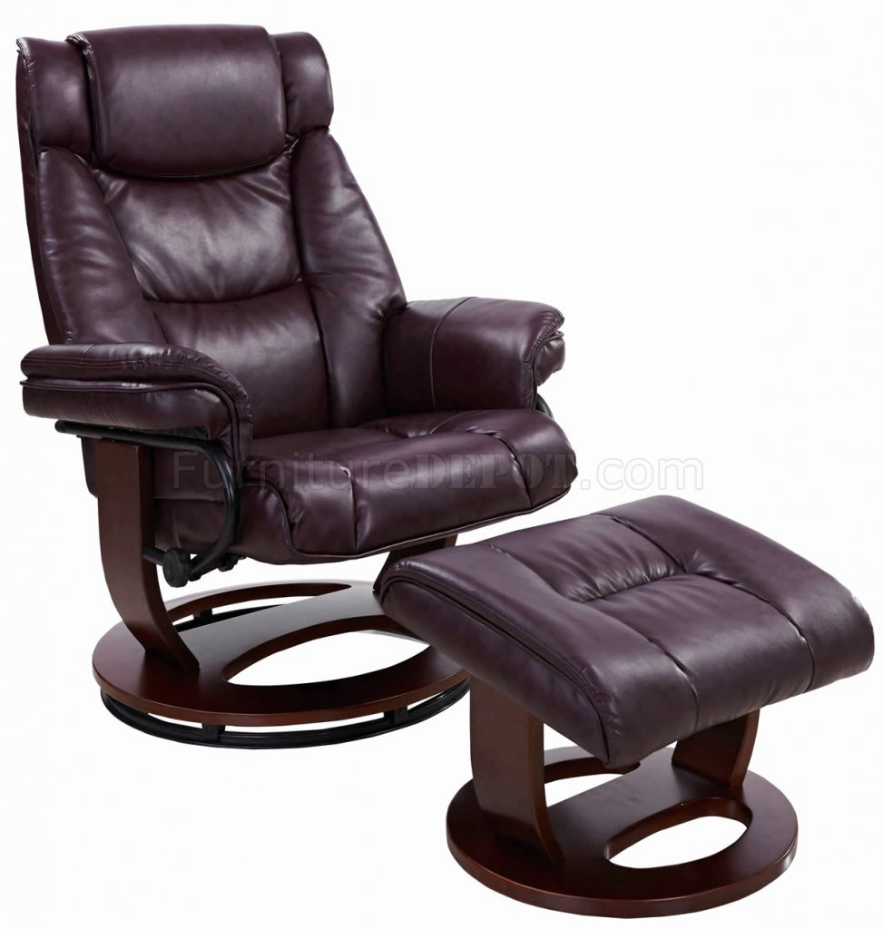 Leather Recliner Chair With Ottoman Savuage Bordeaux Bonded Leather Modern Recliner Chair W Ottoman