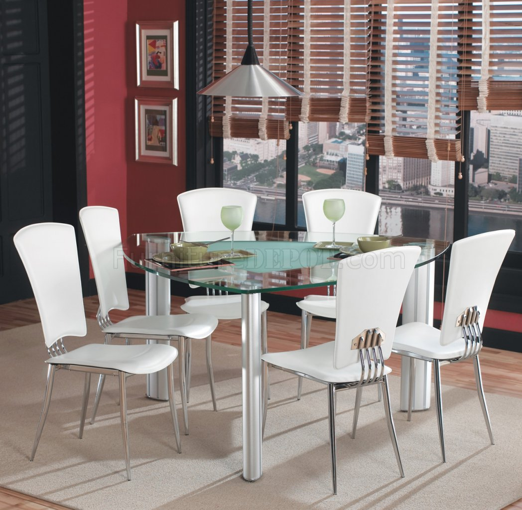 Modern Dining Set Triangle Glass Top Modern Dining Set 7pc W White Chairs