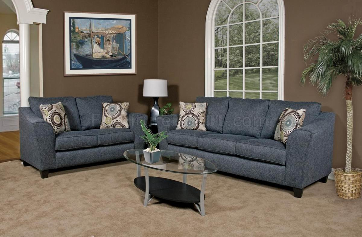 Sofa Set Grau Grey Fabric Modern Loveseat And Sofa Set W Options