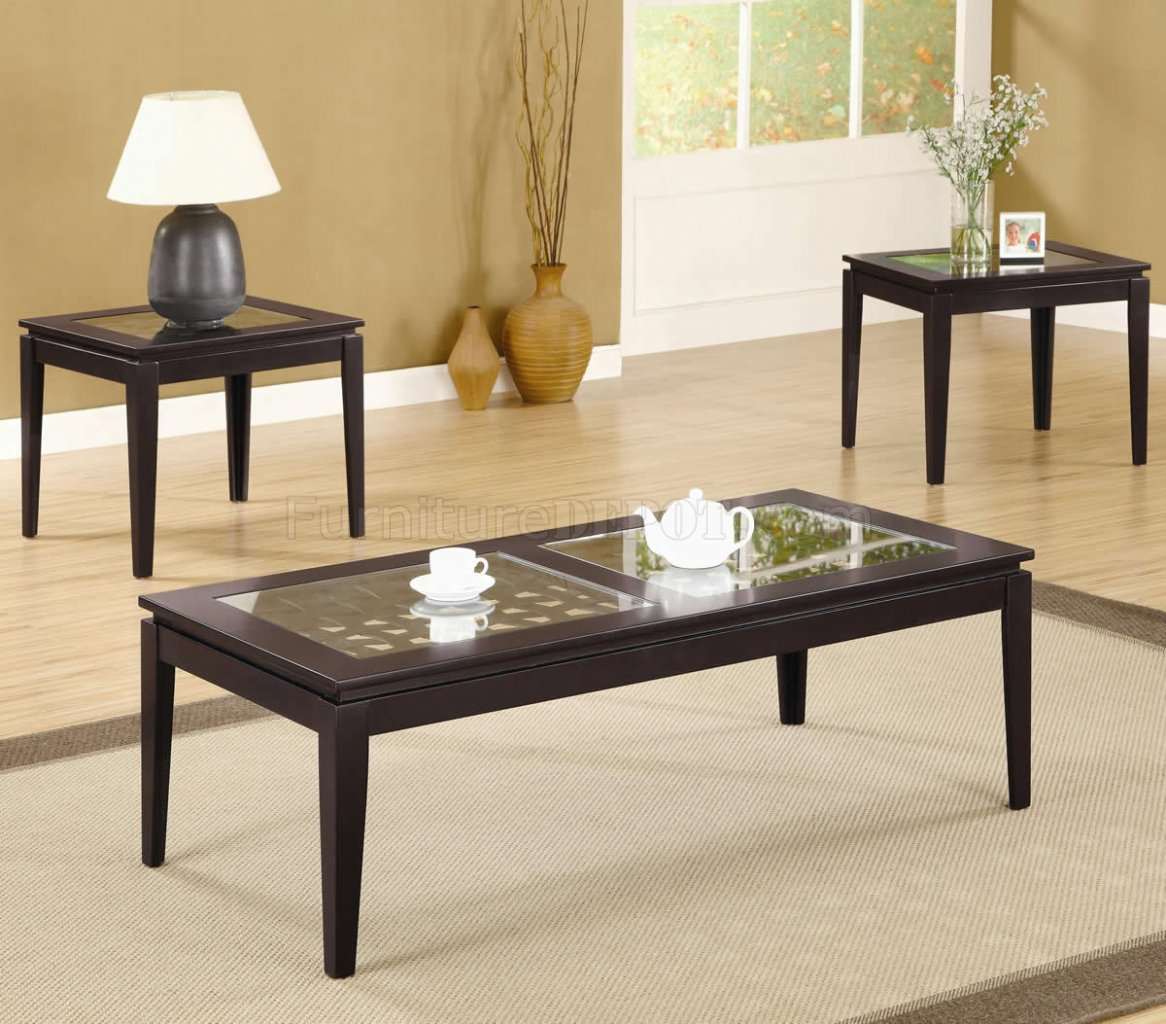 Finish Tables Dark Walnut Finish Modern 3pc Coffee Table Set W Weave Design