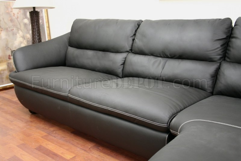 Sofa Cushions Set Of 5 Black Leather Contemporary Sectional Sofa W/white Stitching