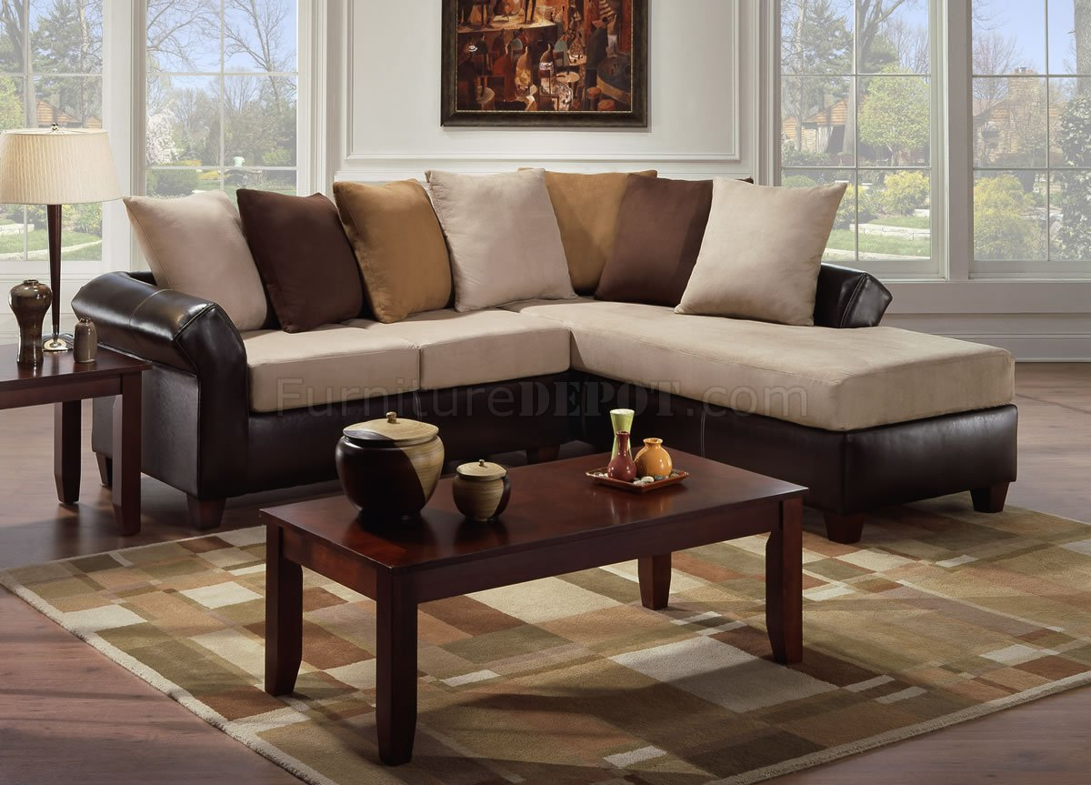 Microfiber Sectional Sofa Multi Tone Combo Microfiber Sectional Sofa W Optional Ottoman