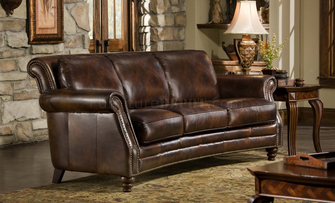 Couch And Sofa Sets Cognac Top Grain Leather Traditional Sofa W/optional Items
