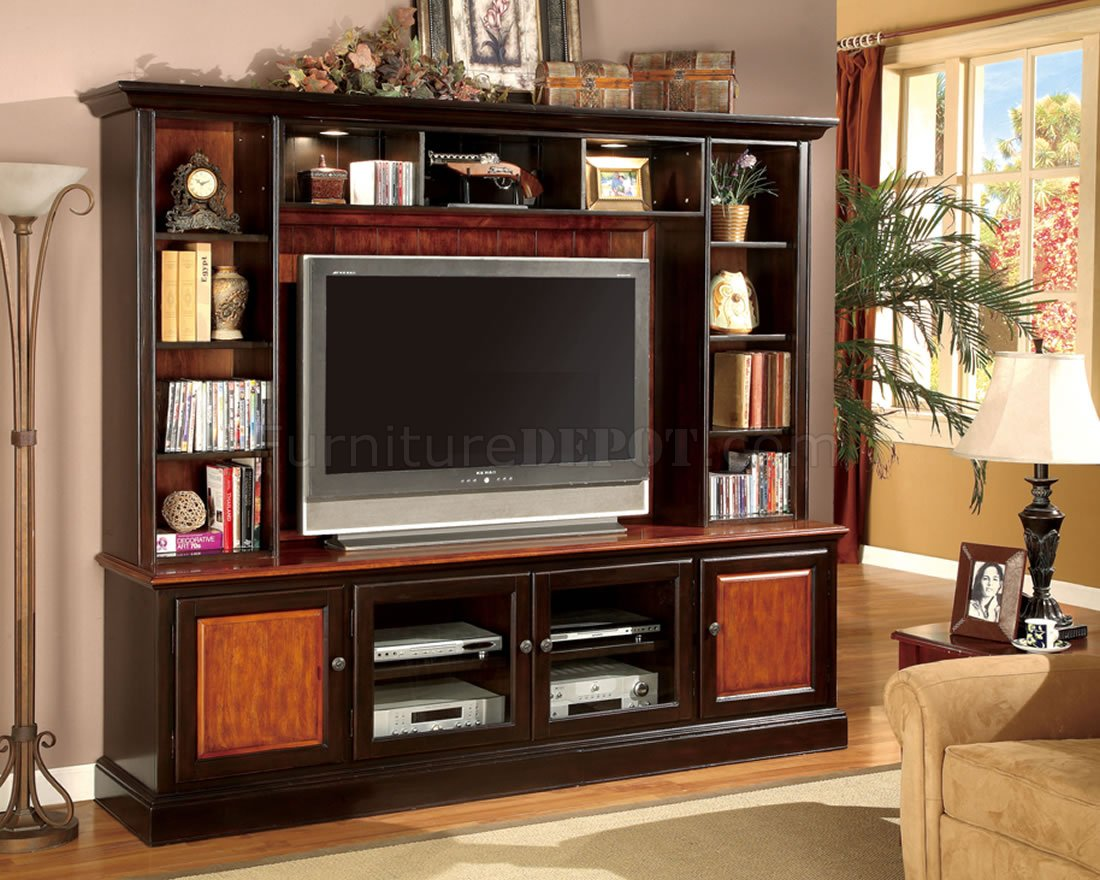 Decorative Wall Units For Living Room Two Tone Classic Wall Unit W Decorative Lights And Glass Doors