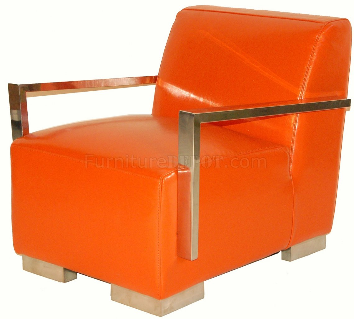 Orange Leather Chair Orange Bi Cast Leather Modern Lounge Chair W Metal Arms And Legs