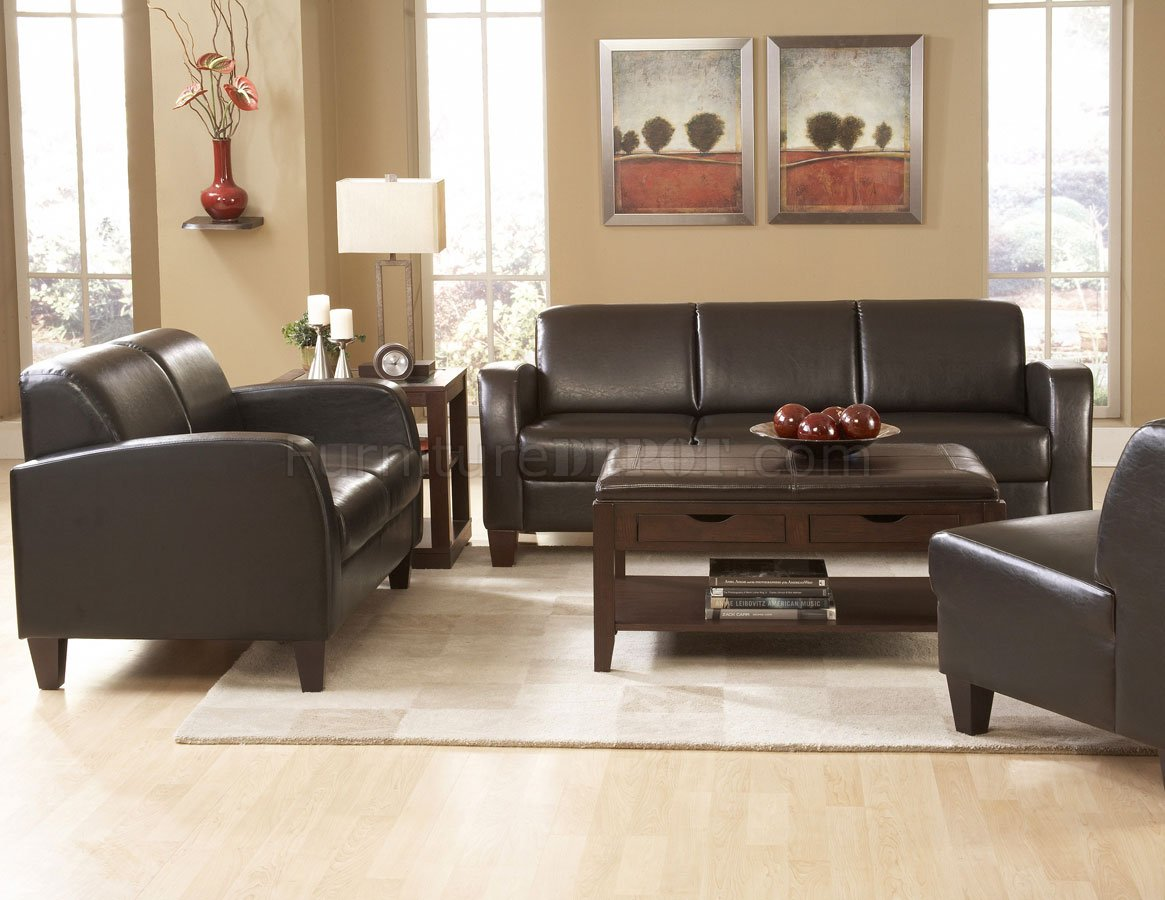 Contemporary Living Set 9915pu Allen Sofa In Dark Chocolate Leather By Homelegance