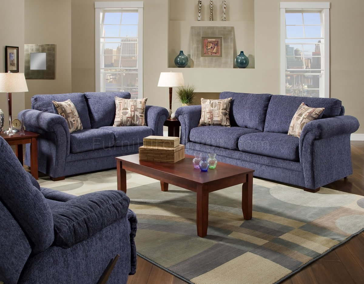 Living Room Sofas Sets Plush Blue Fabric Casual Modern Living Room Sofa Loveseat Set