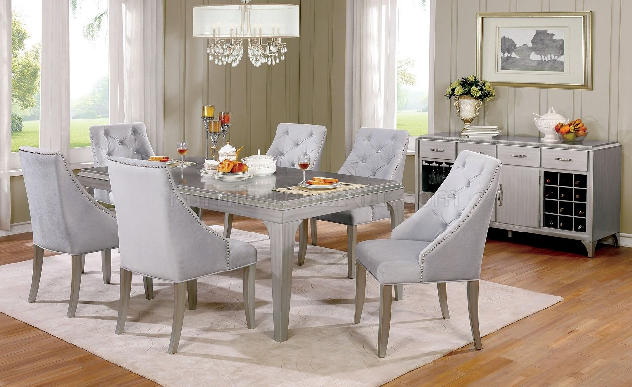 Spiegel Esszimmer Silber Diocles Cm3020t Dining Table In Silver Color W Options