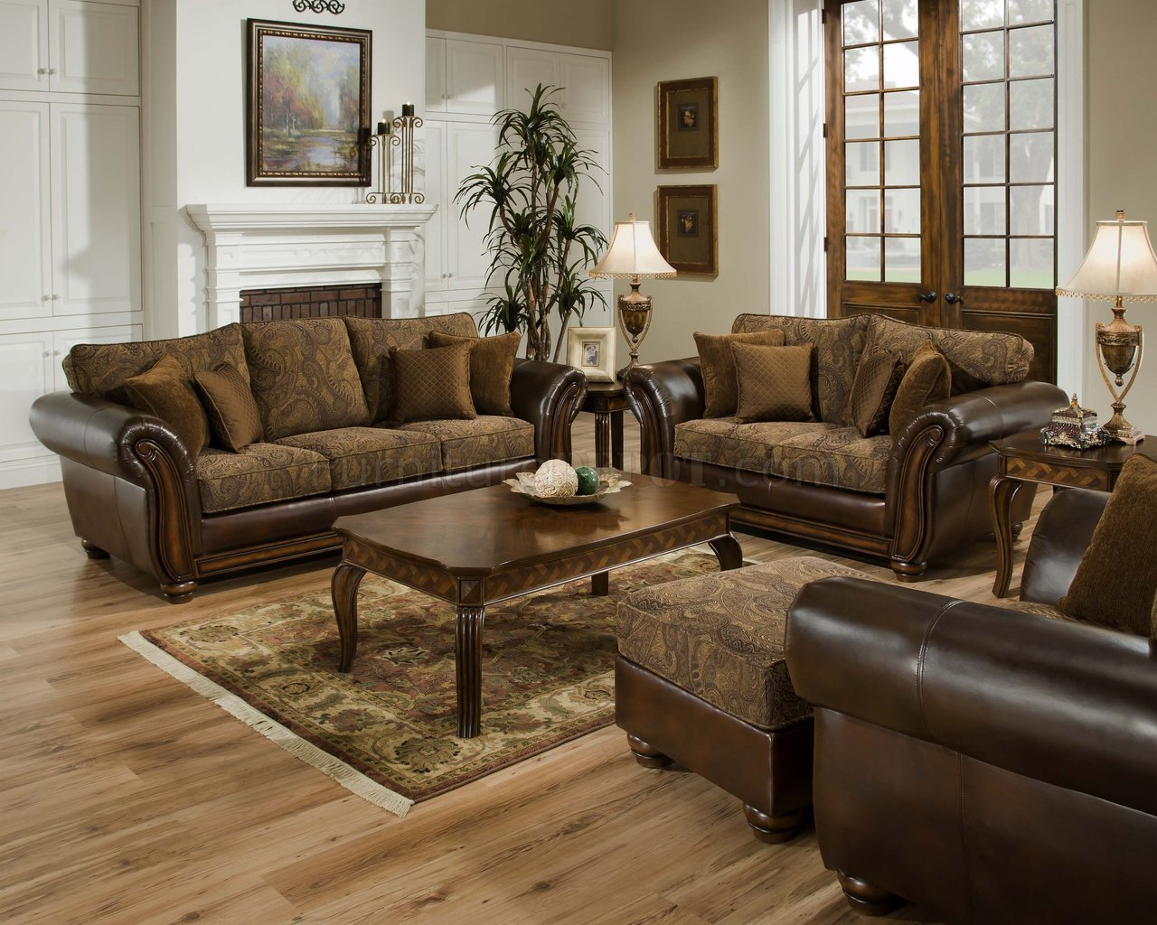 Brown Sofa And Loveseat Sets Vintage Chenille Sofa Loveseat Set W Brown Bonded Leather Base