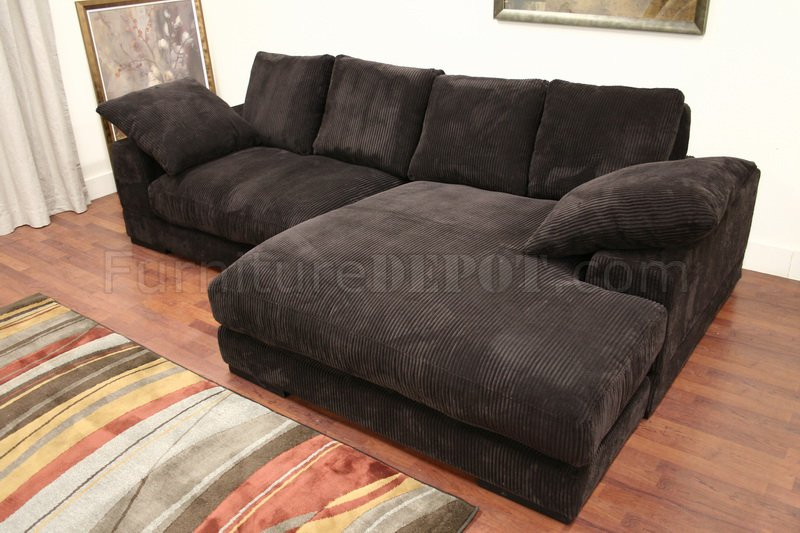 Sectional Sofas With Recliners Dark Brown Ribbed Velvety Microfiber Modern Sectional Sofa