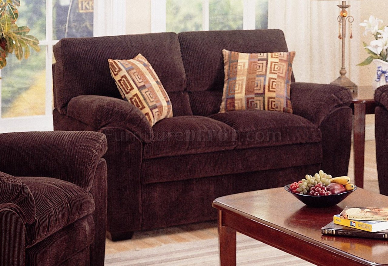 Chocolate Corduroy Sofa Modern Corduroy Fabric Living Room 502521 Dark Chocolate