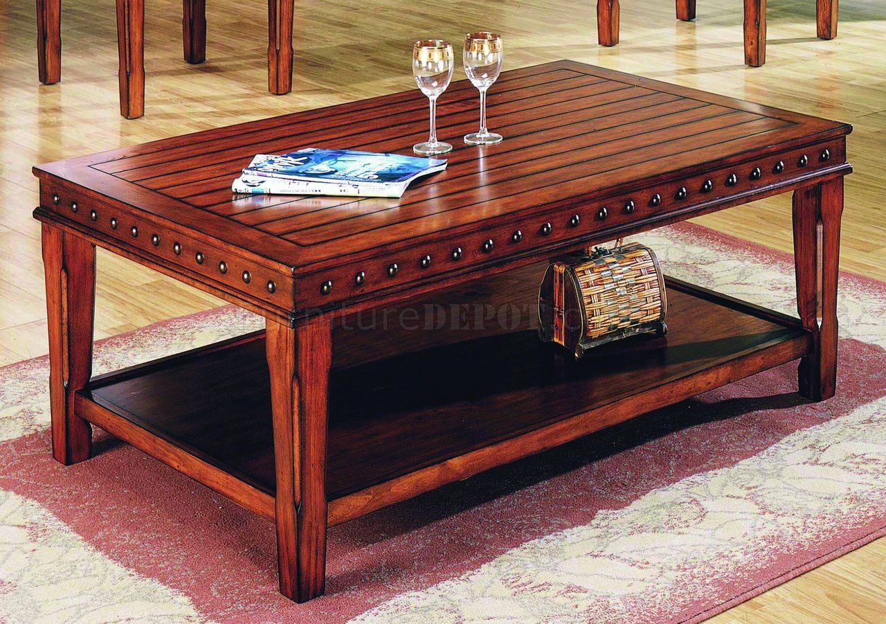 Stylish Table Pine Solid Wood Stylish 3pc Coffee Table Set W Nail Head