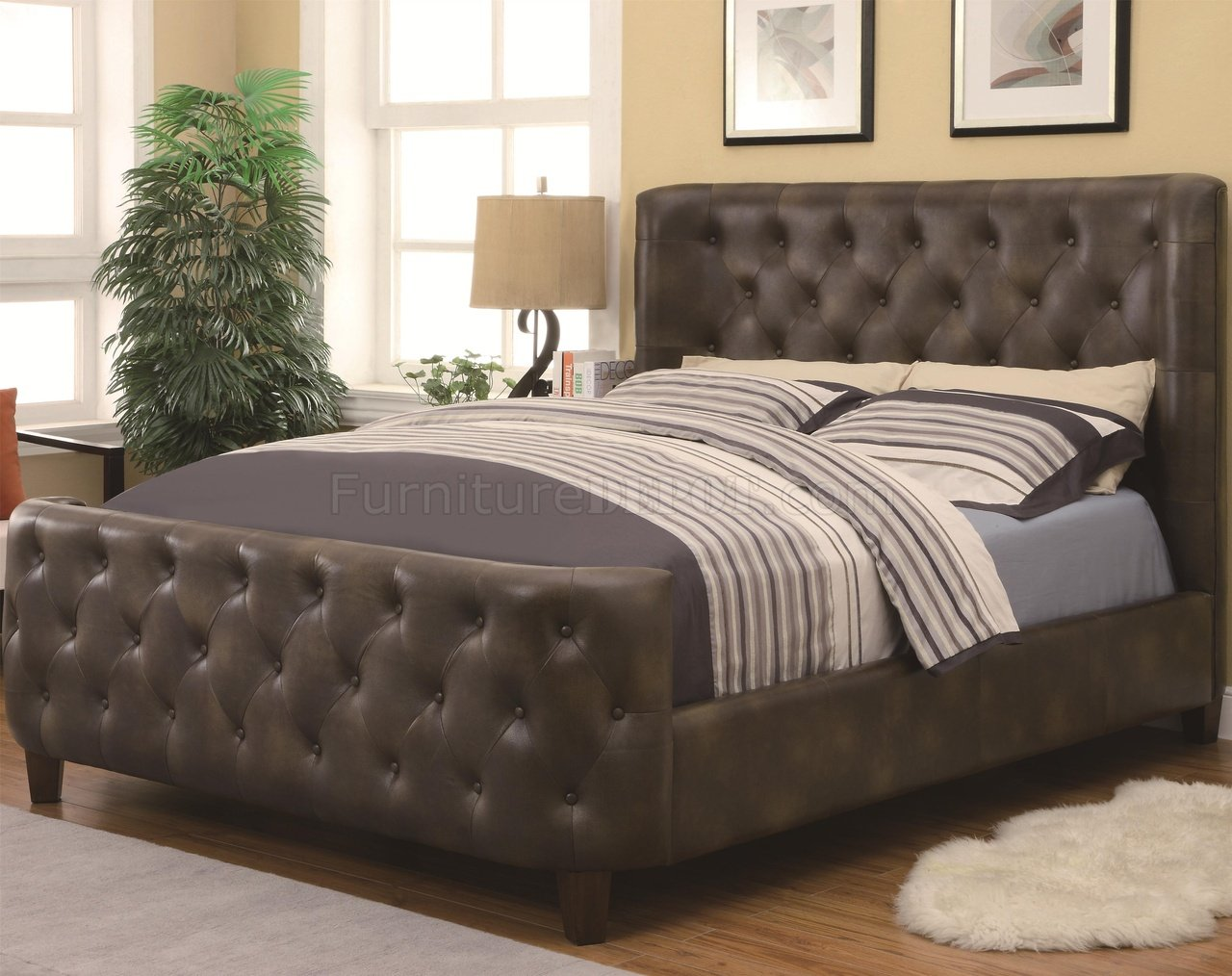 Auburn Furniture Mall 304249 Upholstered Bed By Coaster W Button Tufting