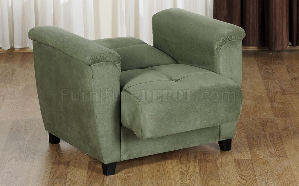 Modern Chairs Sage Microfiber Fabric Living Room Storage Sleeper Sofa