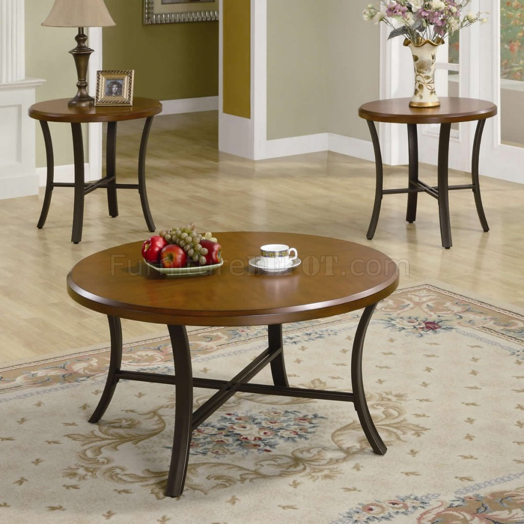 Finish Tables Brown Cherry Finish Modern 3pc Coffee Table W Black Metal Base