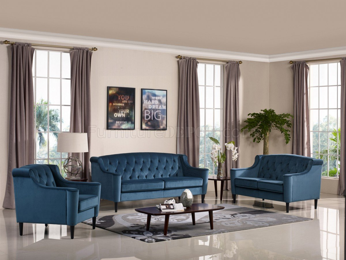 Couch Velour Carly Sofa Set 3pc Mb-1702 In Blue Velour Fabric By Vig
