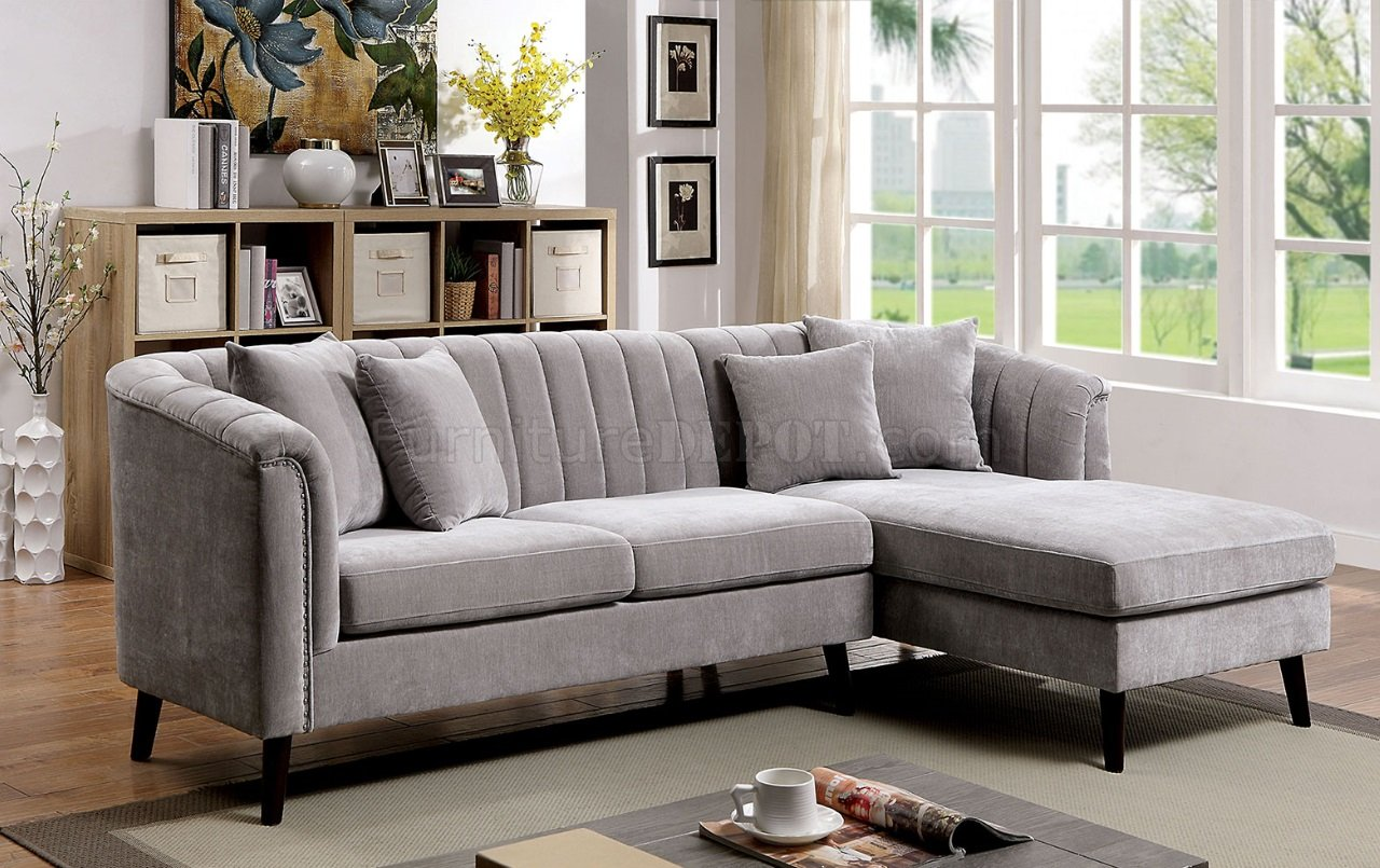 Goodwick Sectional Sofa Cm6947 In Light Gray Chenille Fabric