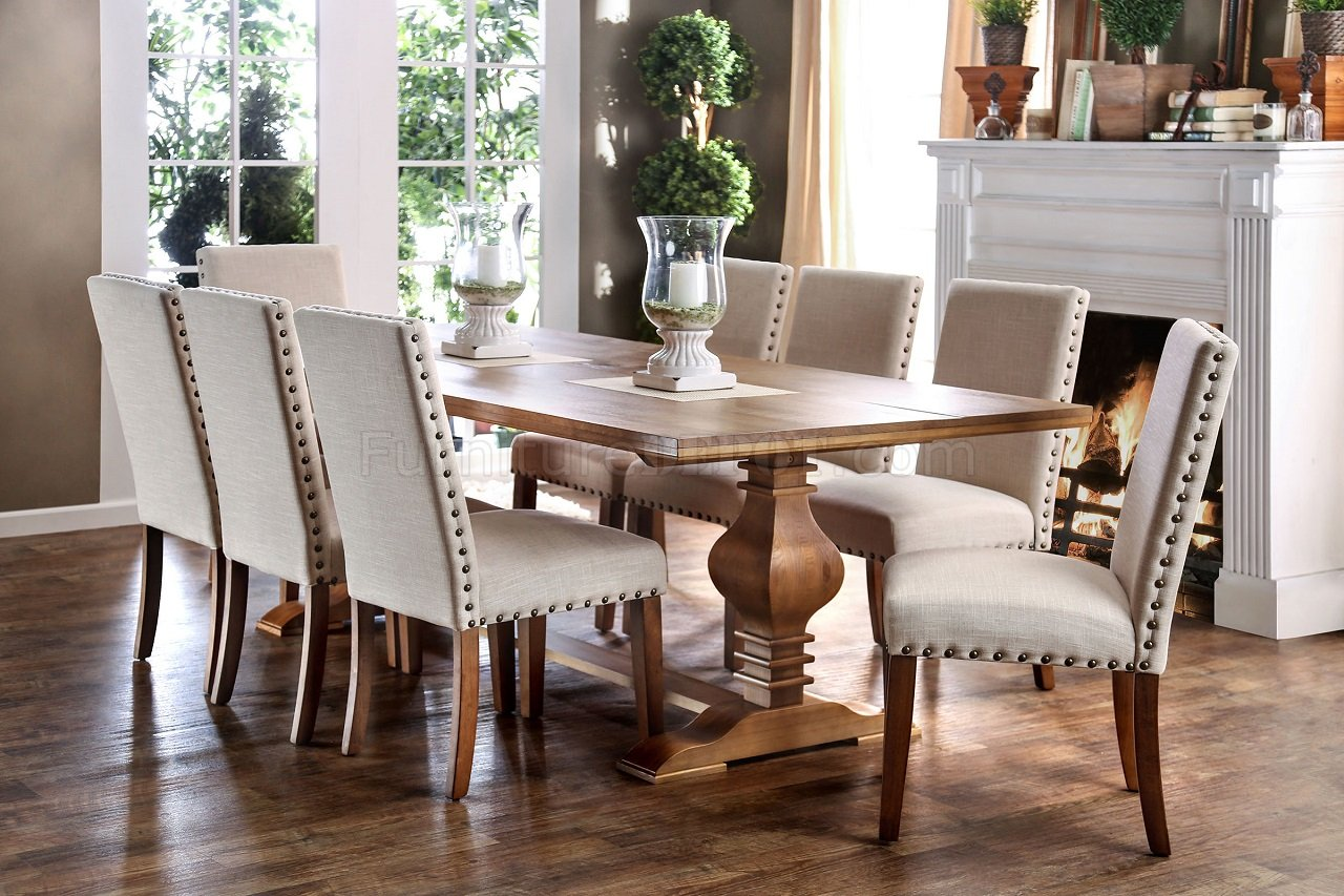 Lounche Dining Set Macapa Cm3441t Formal Dining Table In Oak Finish W/options