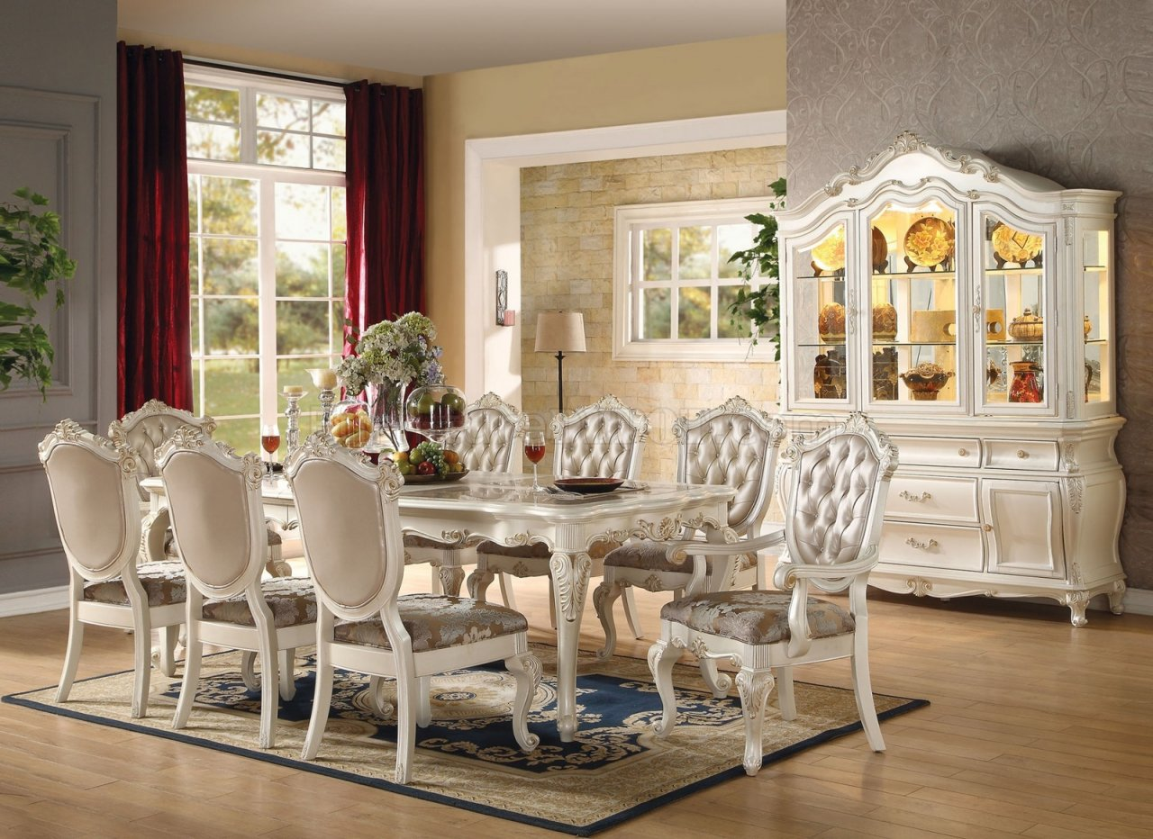 Lounche Dining Set Chantelle Dining Table Pearl By Acme