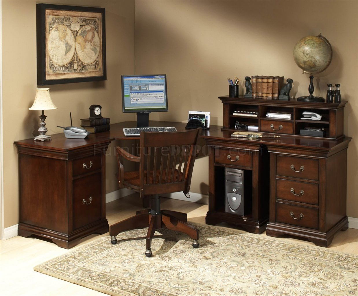 Classic Table Office Burnish Cherry Finish L Shape Classic Office Desk W Small Hutch