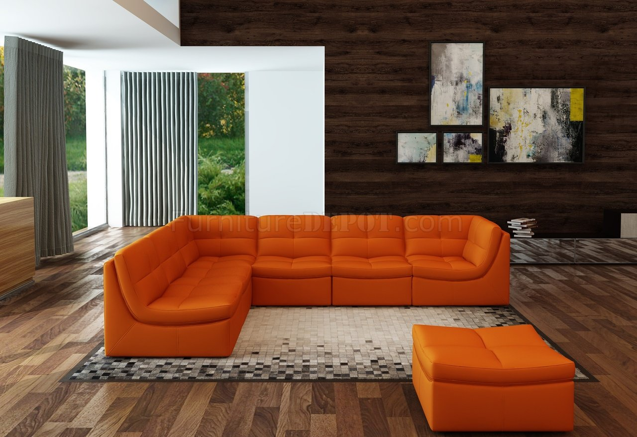 Couch And Sofa Sets Lego Modular Sectional Sofa 7pc Set In Pumpkin Leather By J&m