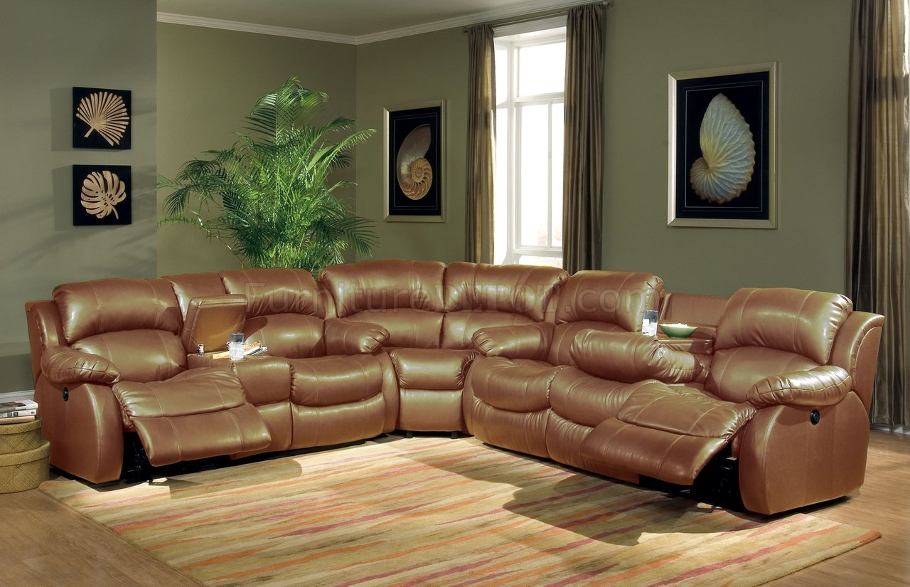Leather Sectional Sofa Recliner Transitional Brown Bonded Leather Sectional W Recliner Mechanism