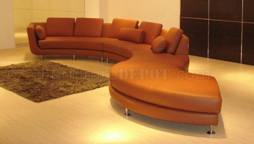 Sofa Set With Steel Legs Ultra Modern 4 Piece Modular Leather Sectional Sofa A94 Brown