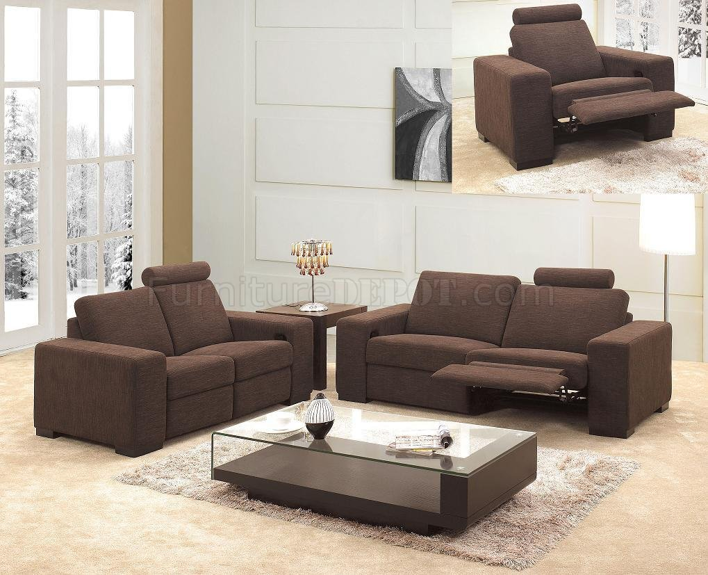 Modern Living Room Recliners Microfiber Fabric Modern 3pc Living Room Set 0918 Brown
