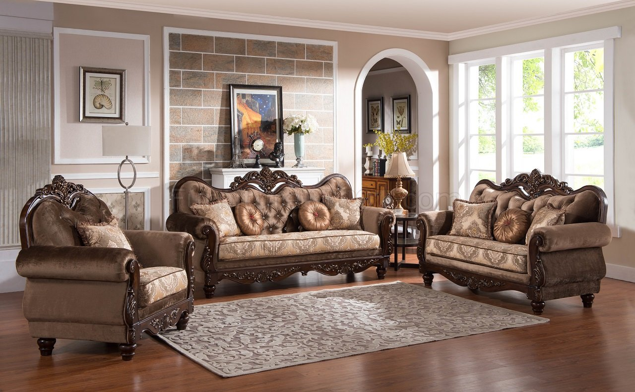 4 Chaises De Bar Zoya Traditional Sofa In Brown & Cherry W/options