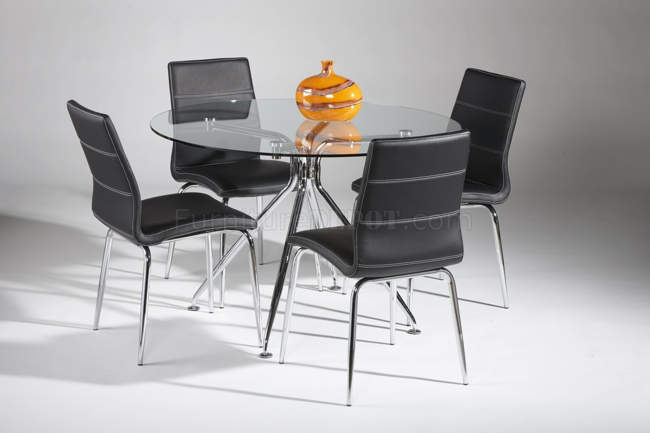 Modern Table Chairs Glass Top And Metal Legs Modern Dining Table W Optional Chairs