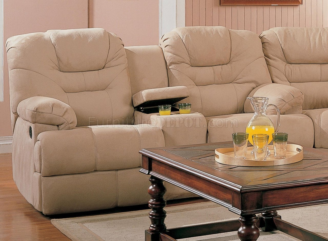 Stylish Recliner Beige Saddle Fabric Stylish Modern Reclining Sectional Sofa