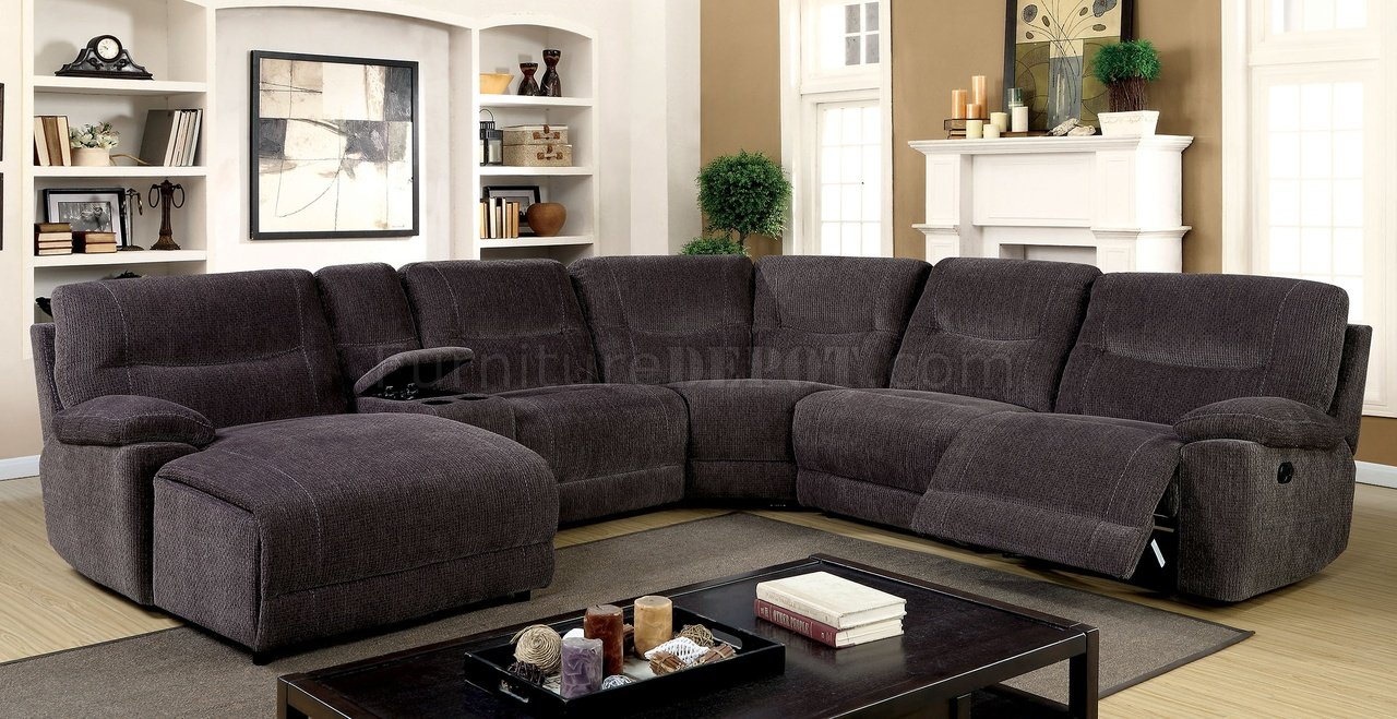 Zuben Reclining Sectional Sofa Cm6853 In Gray Chenille Fabric
