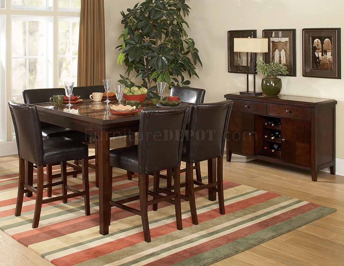 Countertop Table Sets Espresso Classic Counter Height Dining Table W Faux Marble Top