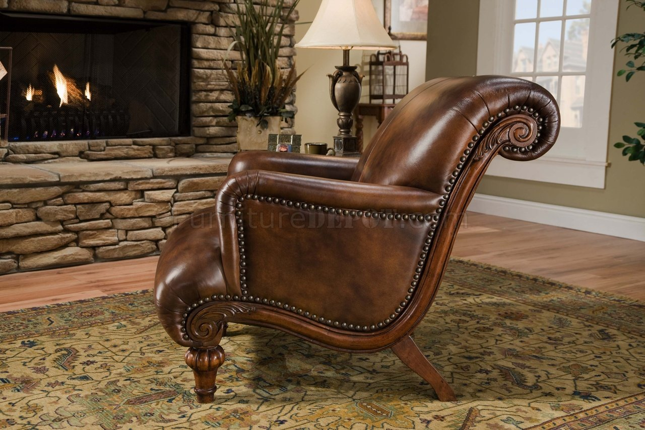 Sofa Cognac Cognac Brown Top Grain Leather Traditional Chair & Ottoman