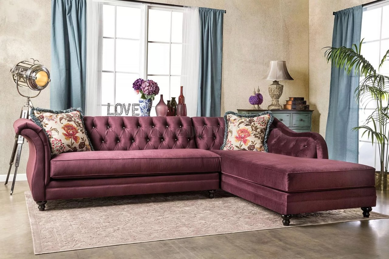 Chesterfield Sectional Sofa Rotterdam Sm2262 Sectional Sofa In Plum Velvet Fabric