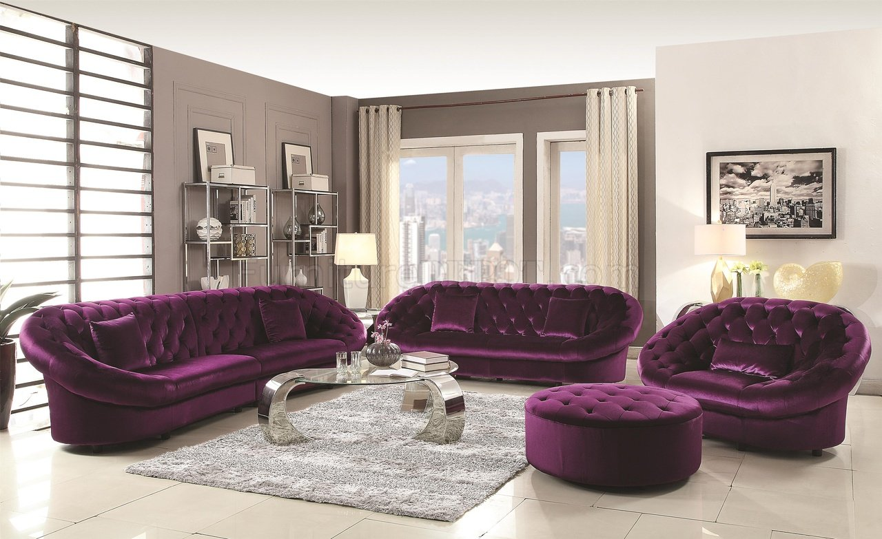 Romanus 511045 Sectional Sofa In Purple Fabric Coaster W Options