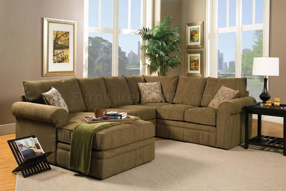 Contemporary Sectional Sofa And Ottoman Set In Chenille Fabric
