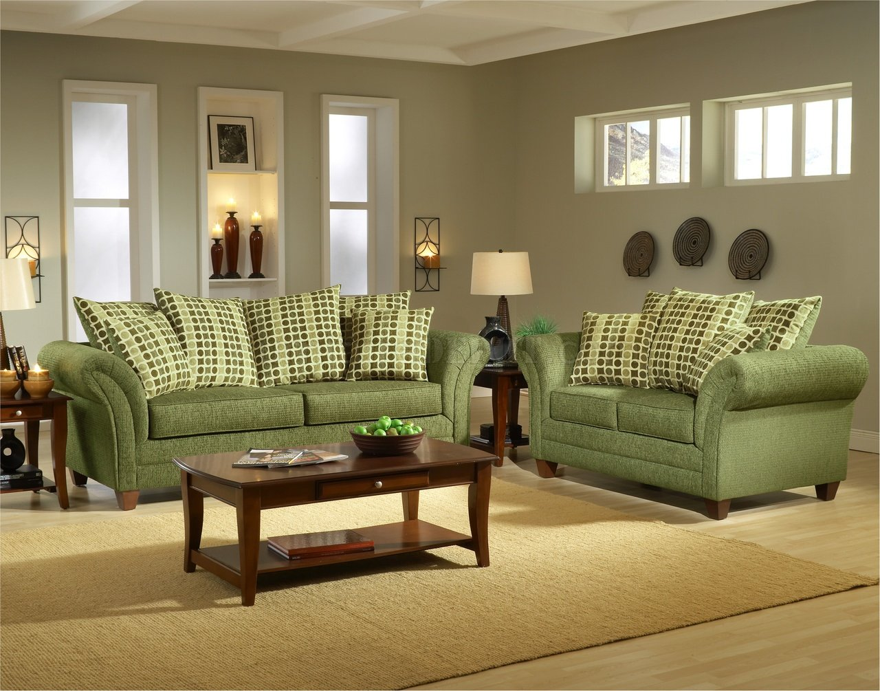 Sala Set Gray Light Forest Green Fabric Modern Living Room Sofa