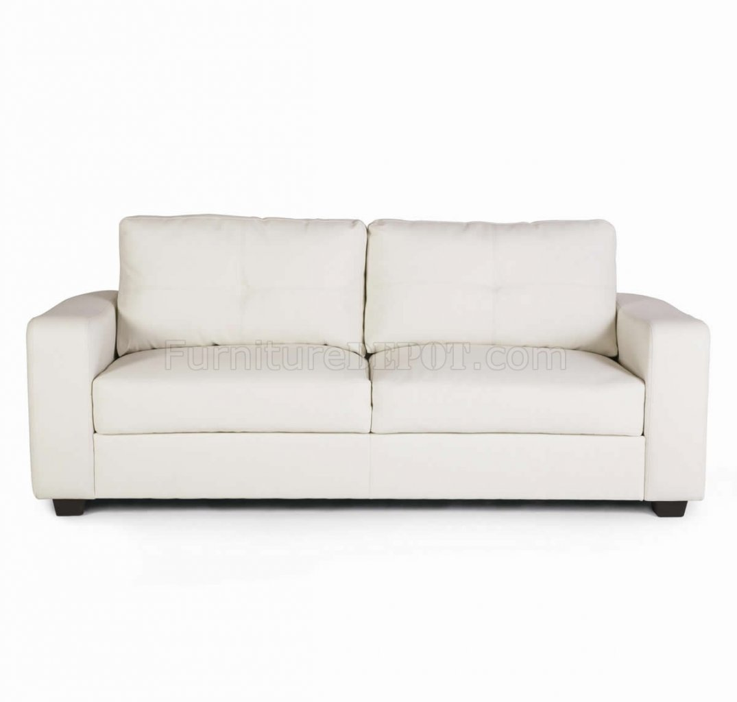 White Contemporary Leather Sofa | Home Element Modern Leather Corner ...
