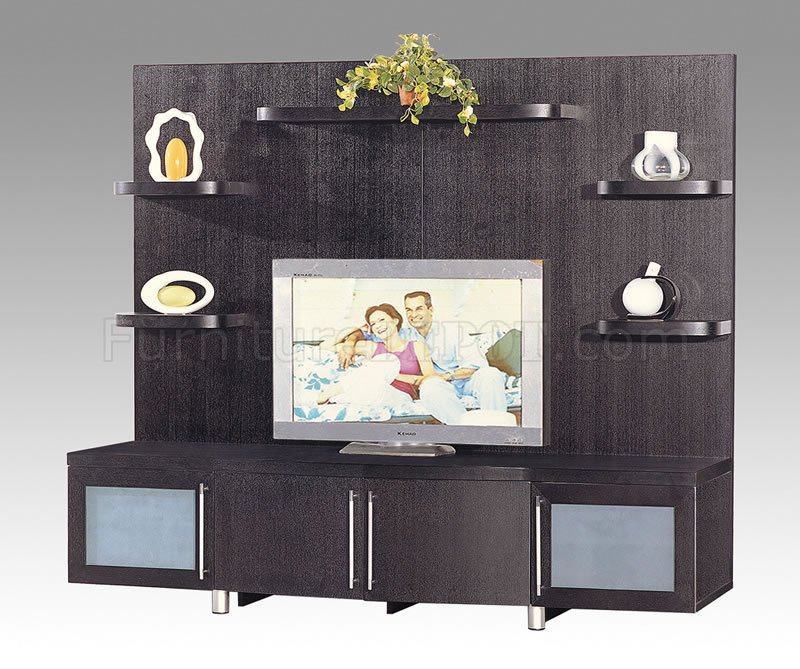 Meuble Tv Wenge Design Wenge Finish Contemporary Tv Stand With Cabinets & Shelves