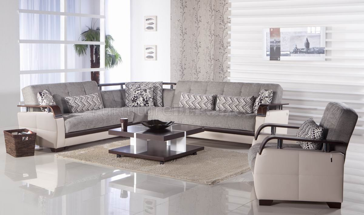 Fabric Sectional Sofas Canada Light Grey Fabric Cream Vinyl Modern Sectional Sofa W Options