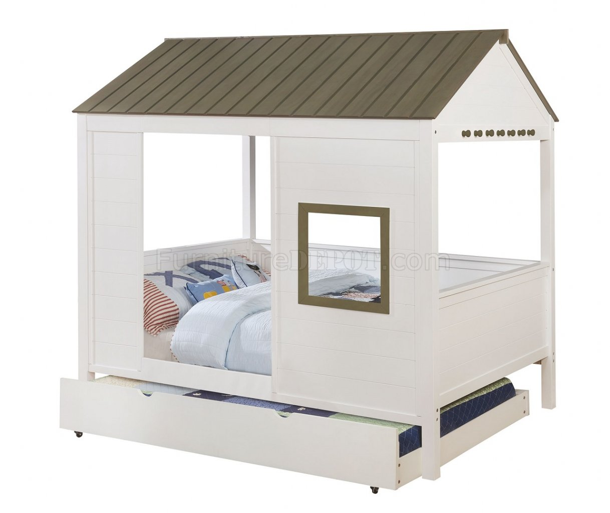 Cobin Cm7133 Kids House Bed In White Grey W Options