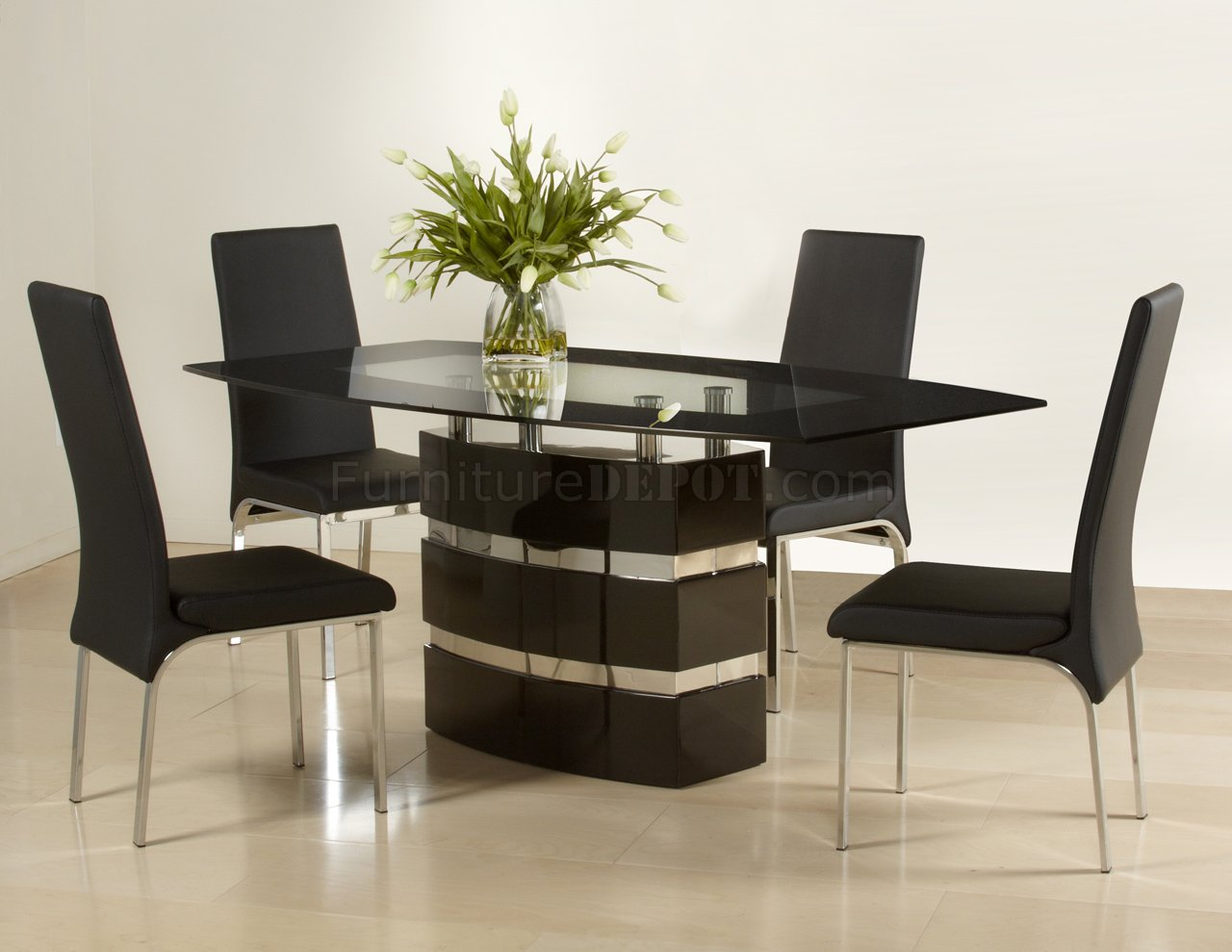 Modern Table And Chairs Black High Gloss Finish Modern Dining Table W Optional Chairs