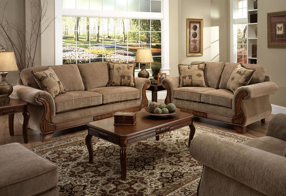 American Classic Living Room Design Tan Fabric Traditional Sofa And Loveseat Set W Optional Items