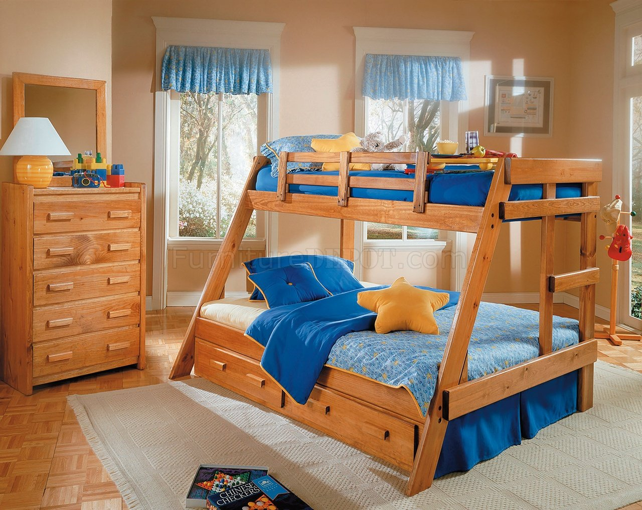 Kids Modern Bunk Bed Honey Pine Finish Contemporary Kids Twin Full Bunk Bed