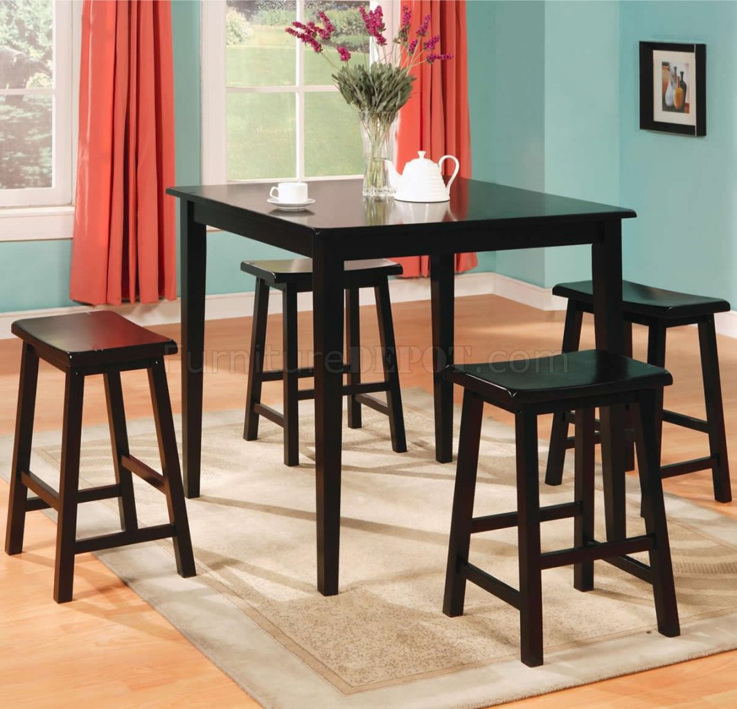 Countertop Table Sets Black Finish Modern 5pc Counter Height Dining Set W Square Top