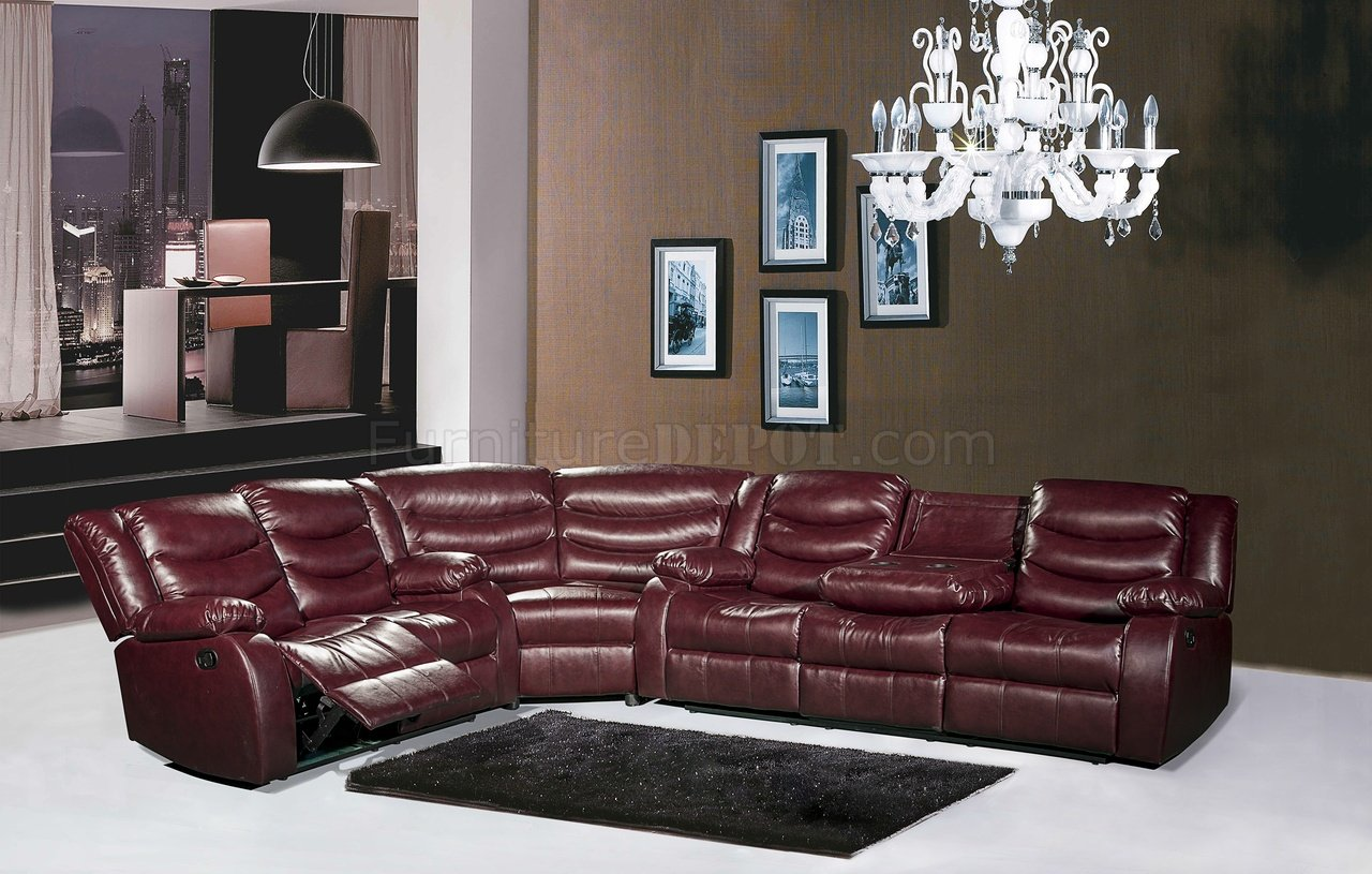 Sofa Model L Gramercy 644 Motion Sectional Sofa In Burgundy Bonded Leather