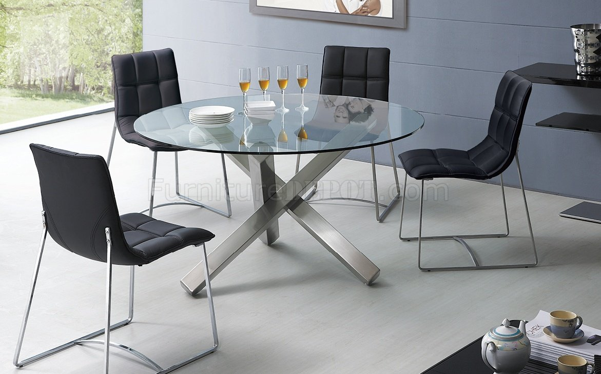 Modern Round Glass Dining Table Clear Glass Round Top Modern Dining Table W Metal Base Options