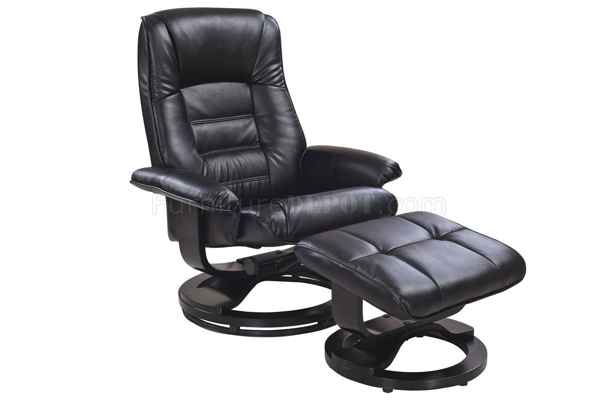 Leather Recliner Chair With Ottoman Savuage Black Bonded Leather Modern Recliner Chair W Ottoman