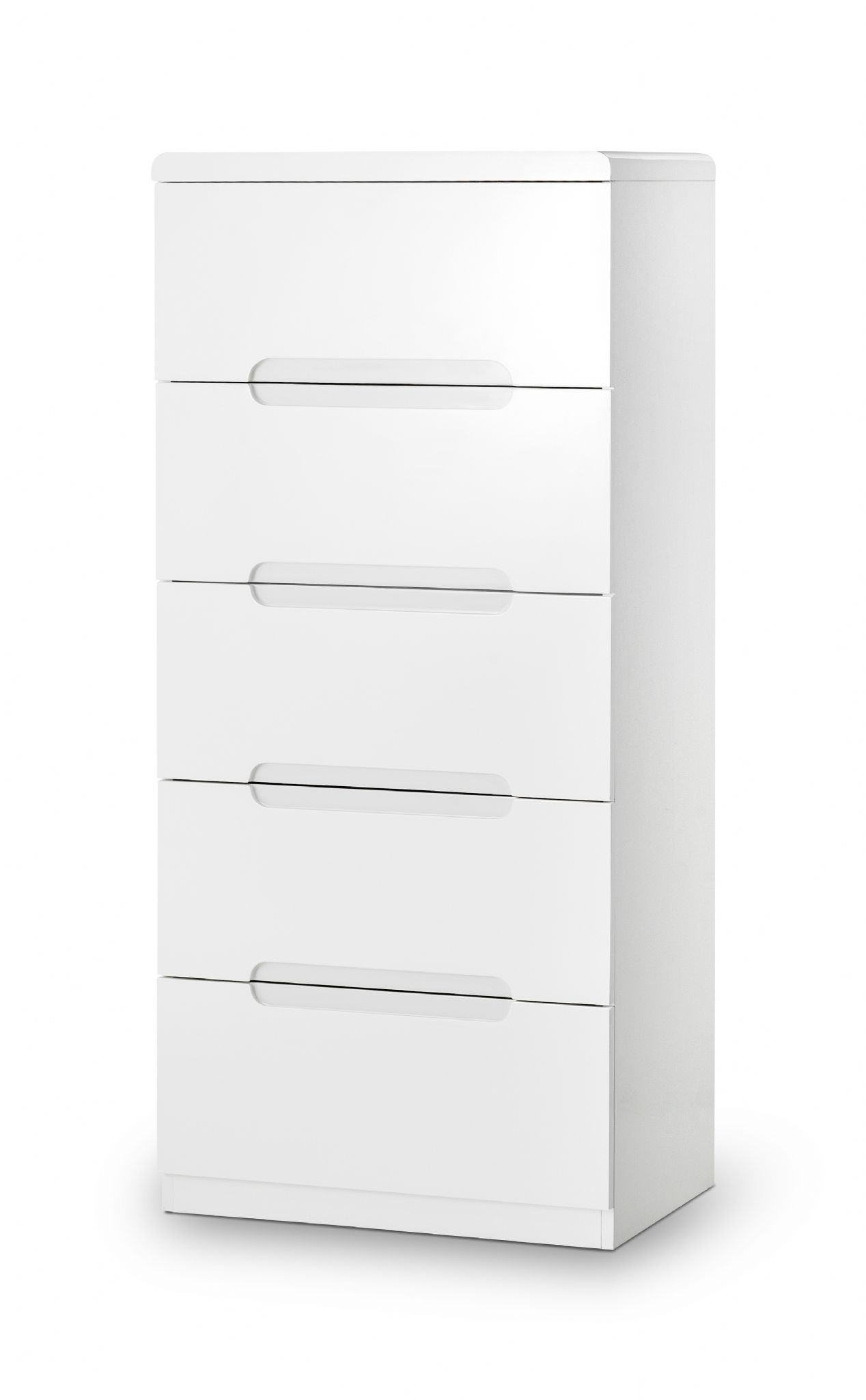 White Gloss Drawers Alzira White High Gloss Lacquer 5 Drawer Narrow Chest Jb311